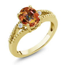 1.85 Ct Oval Ecstasy Mystic Topaz White Topaz 18K Yellow Gold Plated Silver Ring