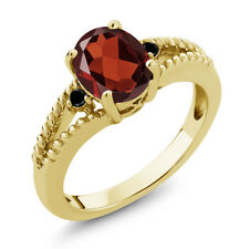 1.85 Ct Oval Red Garnet Black Diamond 18K Yellow Gold Plated Silver Ring
