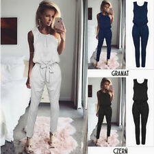Women Sleeveless Lace Up Jumpsuit Ladies Casual Romper Playsuit Slim Long Pants
