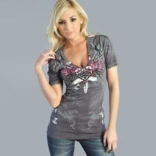 Sinful LUSTFUL Womens V-Neck Top S XL NWT NEW T-Shirt Affliction Dagger Heart
