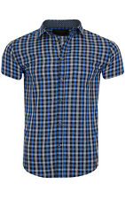 glo-story Check Shirt Men Short Sleeve Blue mcs-3817 Leisure