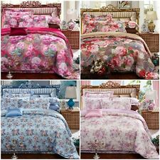 100% Satin Floral Quilt/Duvet/Doona Cover Set Queen King Size Bed Pillowcase New