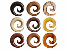 Spiral Stretcher Wood ear plug taper gauge tunnel organic tribal horn piercing