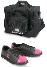 Womens Brunswick TZone Bowling Shoes Black/Pink Sizes 5 - 11 & Black 1 Ball Bag