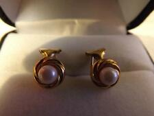9ct Gold pearl set earings clip type fully hallmarked