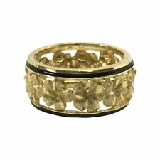 Hawaiian Heirloom Jewelry 14k Yellow Gold Cut Out Lei Ring with Black Borders