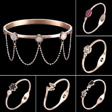 Fashion Stainless Steel Rose Flower Butterfly Bangle Bracelet Wedding Jewelry