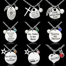 Stainless Steel Crystal Birthstone Pearl Letter Cross Round Pendant Necklace New
