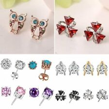 Women Elegant Cubic Zirconia CZ Animal Owl Ear Stud Earrings Wedding Jewelry New