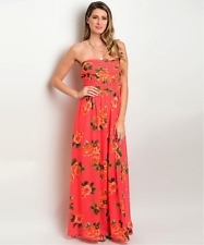 Sexy Strapless Romantic Coral Green Tropical Floral Cruise Party Jrs Maxi Dress