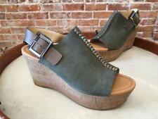 Marc Fisher Sinthya Green Nubuck Leather Cork Wedge Sandals NEW
