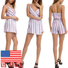 Women Summer Sleeveless Short Pants Jumpsuit Holiday Beach Casual Romper Outfits
