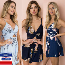 Womens Summer Floral V Neck  Sleeveless Jumpsuit Beach Playsuit Romper Outfits