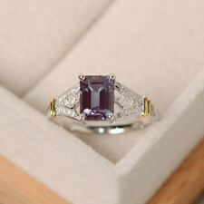 Unique Style Natural Alexandrite Gemstones 925 Sterling Silver Crown Ring