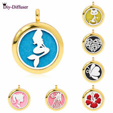 25MM Alloy Gold Locket Essential Oil Aromatherapy Perfume Diffuser Pendant 1Pad