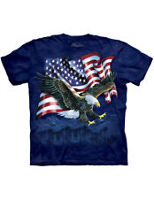 NEW NWT Bald Eagle Wings Outstretched w/American Flag Backdrop T-Shirt