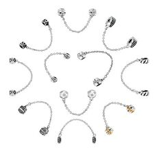 Safety chains Charms Bead  Fit 925 Silver Sterling Bracelets Necklace