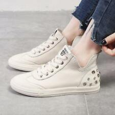 Womens Leather Rivets High Tops Athletic Sneakers Flat Heels Leisure College New