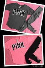 Victoria's Secret PINK Boyfriend Jersey & Ultimate Seamles Tight Outfit XS S NWT