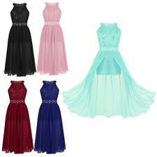 Girls Floral Lace Rhinestone Maxi Romper Dress for Pageant School Dance Party