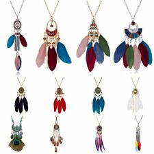 BOHO Women Peacock Feather Bead Long Pendant Necklace Sweater Chain Jewelry Gift