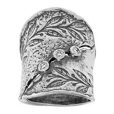 Silpada Hammered Finish Sterling Silver With Cubic Zirconia Wide Ring