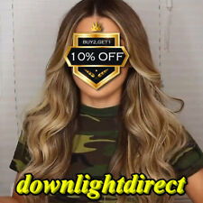 New Fashion Women's Long Curly Wavy Hair Wig Ombre Black Blonde Natural Full Wig
