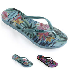 Womens Havaianas Slim Tropical Blue Splash Rubber Toe Post Flip Flops US 6-11