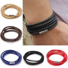Men Punk Wide Bron Multi-layer Braided Leather Bracelet Wristband Jewelry Party