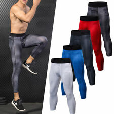 Men's Compression 3/4 Pants Running Gym Workout Athletic Fitness Elastic Tights
