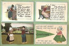 DUTCH KIDS, ADULTS On Lot of 4 Vintage HOLIDAY/GREETING Postcards--2 Unused
