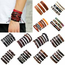 6/5/3PCS Unisex Men Women Leather Braided Wristband Cuff Punk Bracelet Bangle