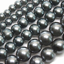 GLASS PEARLS JEWELRY BEADS SLATE GREY 4MM 6MM 8MM FAUX PEARL BEAD STRAND GP3