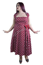 60's Retro Rockabilly Pin-up Red and White Polka Dot Belted bow Party Dress