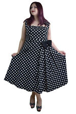 60's Vintage Rockabilly black and white polka Dot Belted Bow Swing Party Dress