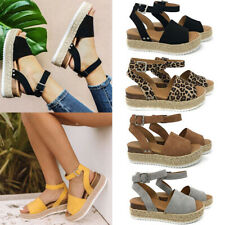 Women's Wedge Heels Ankle Strap Sandals Summer Casual Open Toe Espadrilles Shoes
