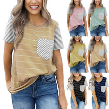 Women Summer Striped Short Sleeve Casual T-Shirt Pocket Loose Blouse Tunic Tops