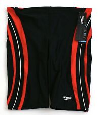 Speedo Black & Red Rapid Spliced Jammer Swimsuit Men's NWT