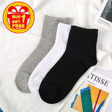 3 Pack Unisex Sport Cotton Crew Solid Middle Socks Dress Socks Mid Calf Solids