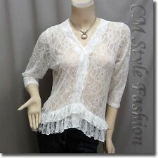 Elegant Floral Lace Sheer Cardigan Blouse Top White M/L