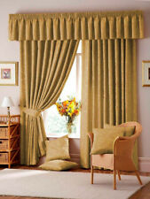 """Lana Damask 3"""" Tape Top Fully Lined Curtains In Gold - Free Postage"""