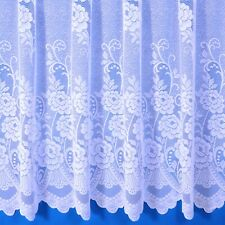 SALLY JACQUARD NET CURTAIN IN WHITE. SOLD BY THE METRE