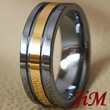 8MM Tungsten Wedding Band Mens Rings 18K Gold Size 6-15