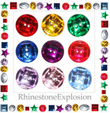 RHINESTONE SPARKLE SEW-ON BUTTONS GEMS 15-19mm mixed pk Jewel Colors
