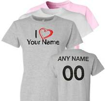 I Love Heart Personalized Ladies T-Shirt Name n Number
