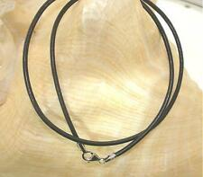 "Choice of Length 2mm Genuine Black Leather Cord Sterling Silver Necklace 16""-20"""
