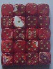20 Six Sided Marble Spot Dice 15MM RPG War Games D6 NEW