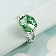 Statement Green Square Cushion Cut Crystal Ring Band Genuine Swarovski Elements
