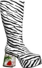 Zebra Platform Fish Heel Boots Adult Halloween Costume Accessory Shoes