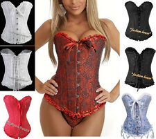 New Sexy Satin Vintage Lace Up Boned Corset Basque--819